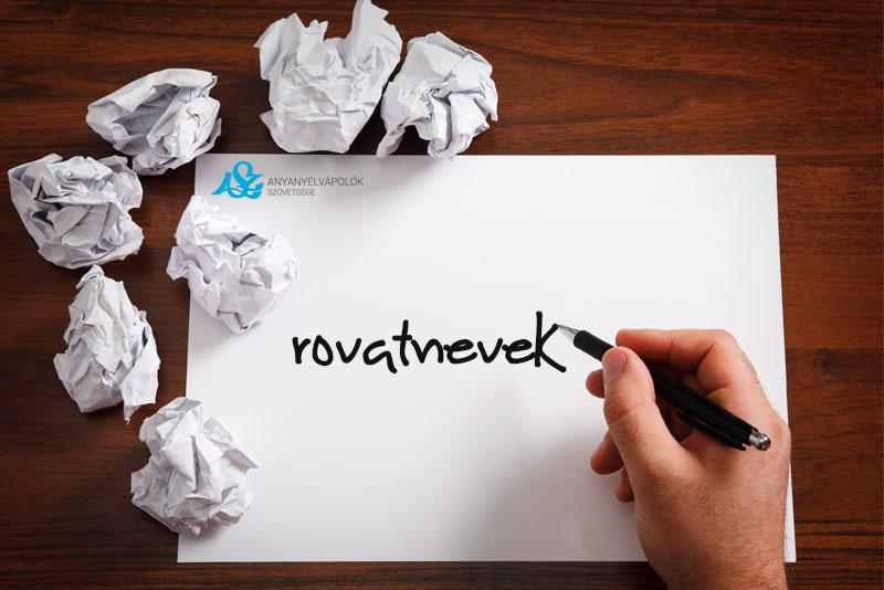 Anyanyelvápoló.hu Rovatnevek – pályázat