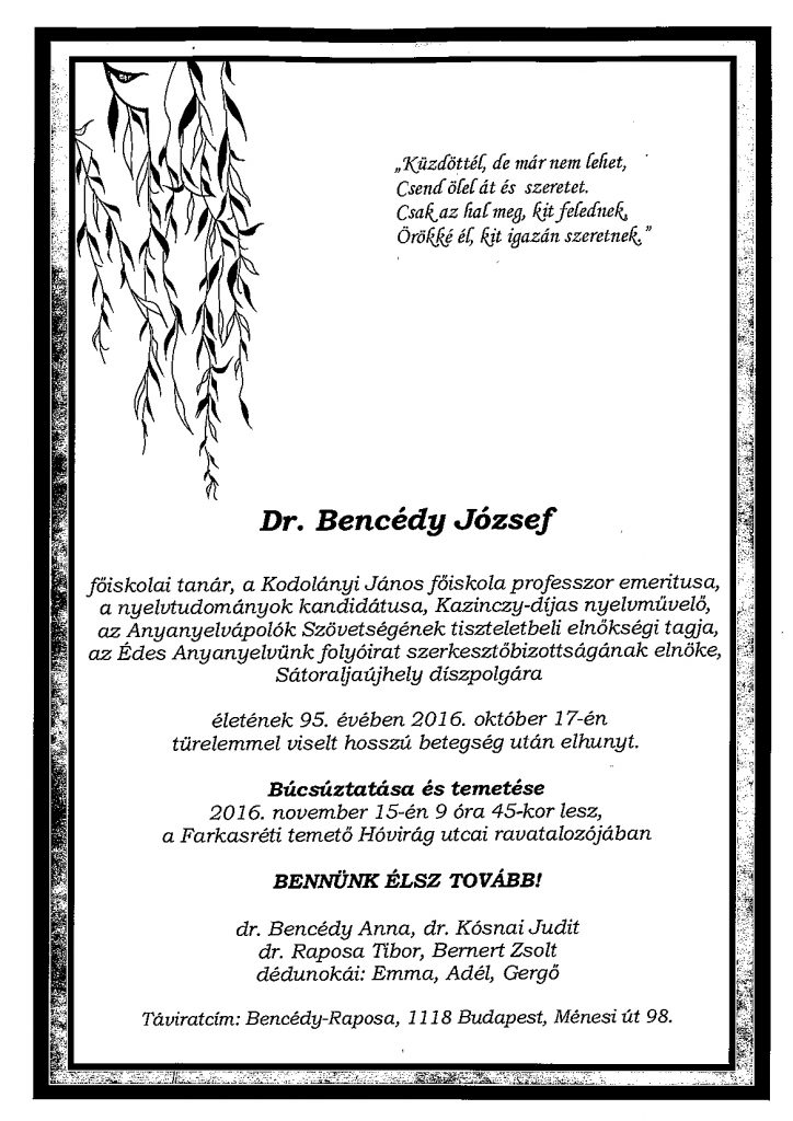 bencedy-jozsef-gyaszjelentes