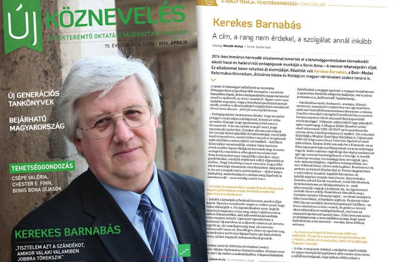 Kerekes Barnabás az Új Köznevelés címlapján